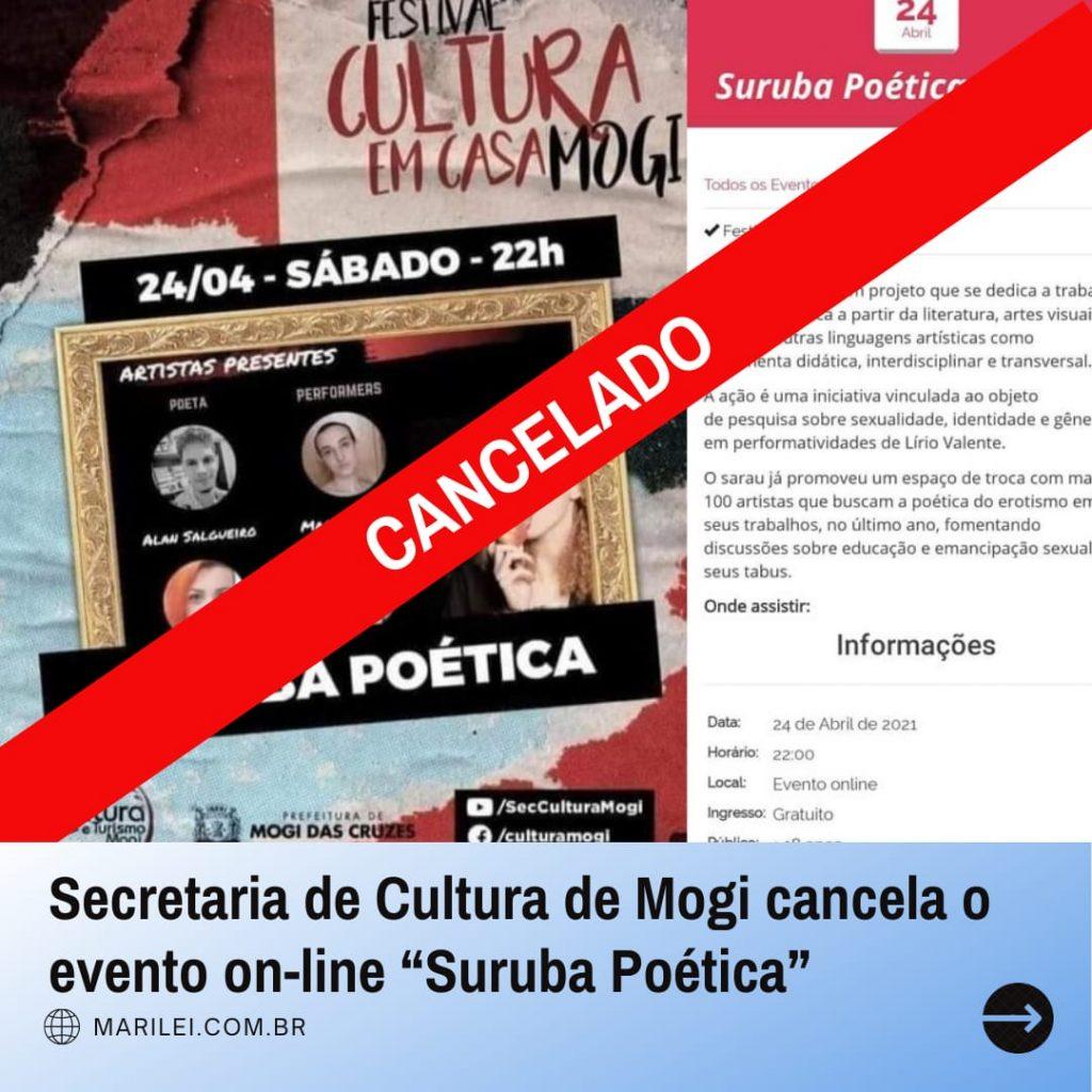 """Secretaria de Cultura de Mogi cancela o evento """"Suruba Poética"""""""